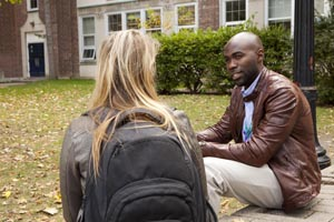 A Mental Health and Addictions Nurse speaks with a student