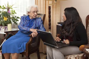 a care coordinator discusses privacy with a resident