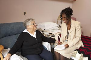 a long term care home resident consults a health professional