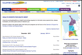 screen capture of southwesthealthline.ca
